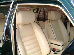 "<span class=""light"">Bentley</span> Turbo R – Front seat with headrest bolster cushion held by straps as per OE Bentley design."